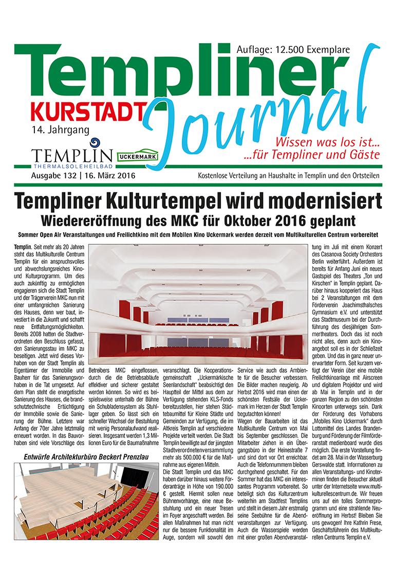 Templiner Kurstadt Journal 132 vom 16.03.2016