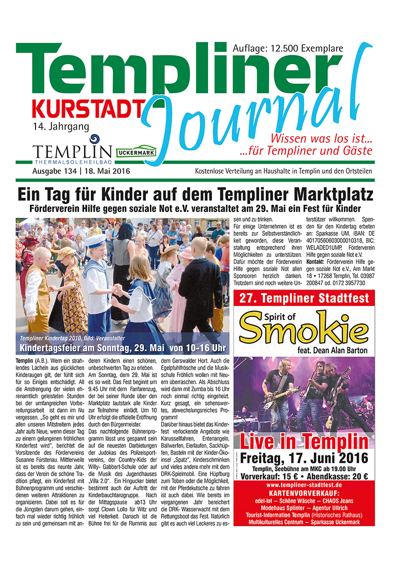Templiner Kurstadt Journal 134 vom 18.05.2016