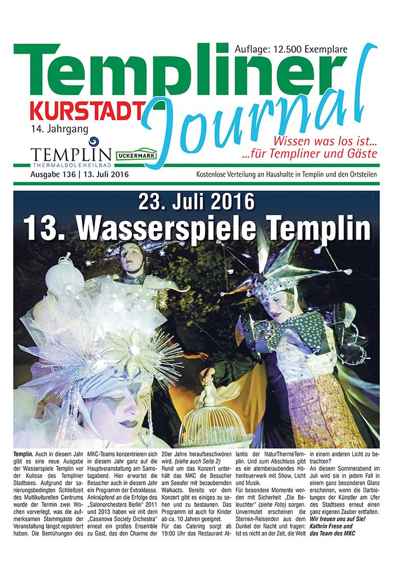 Templiner Kurstadt Journal 136 vom 13.07.2016