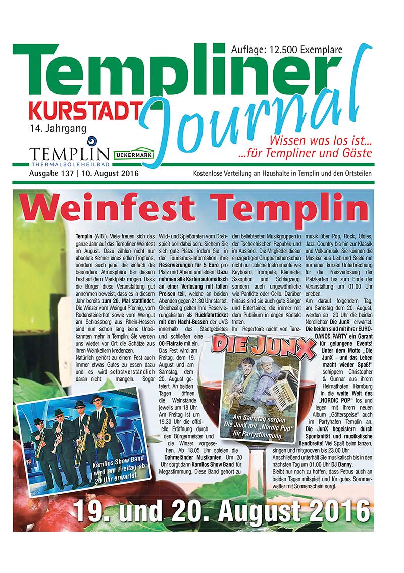 Templiner Kurstadt Journal 137 vom 10.08.2016