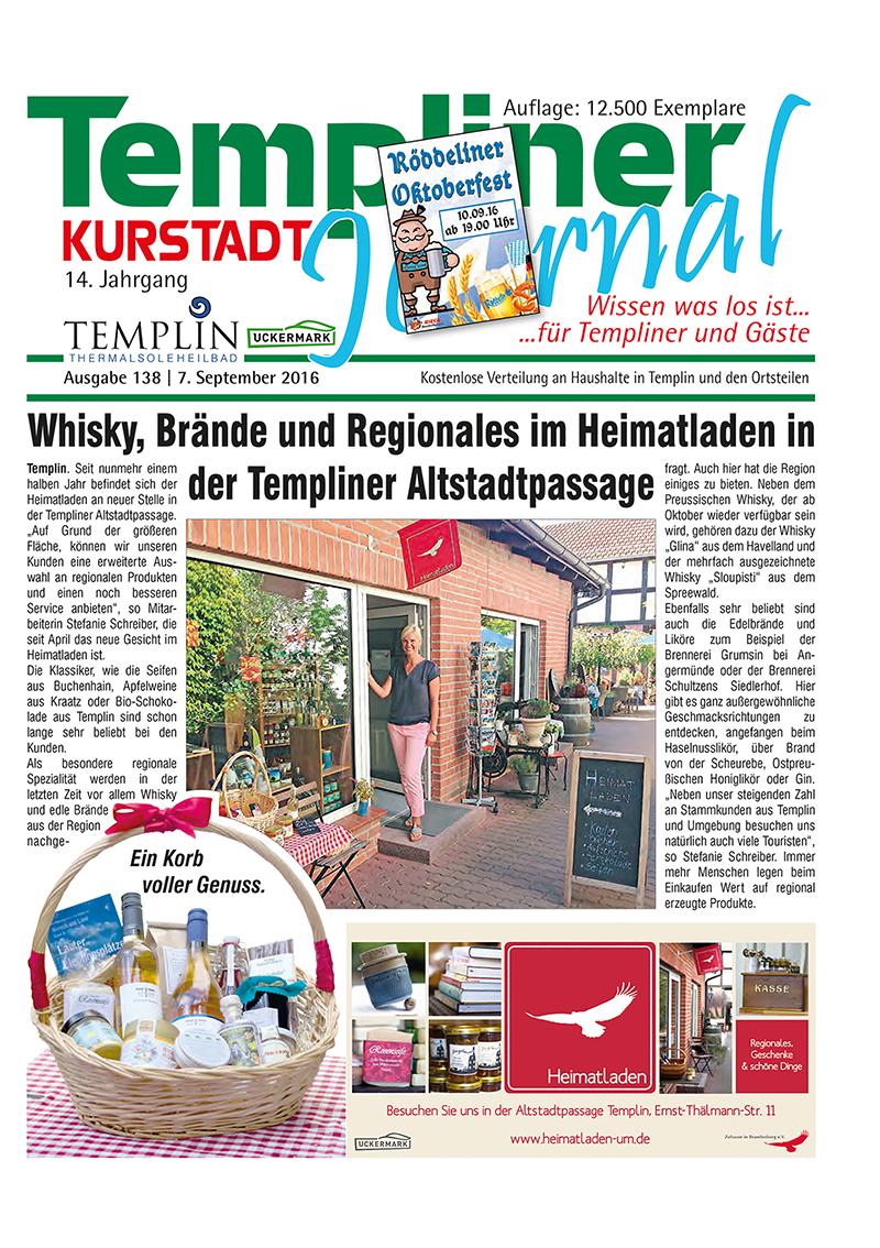 Templiner Kurstadt Journal 138 vom 07.09.2016