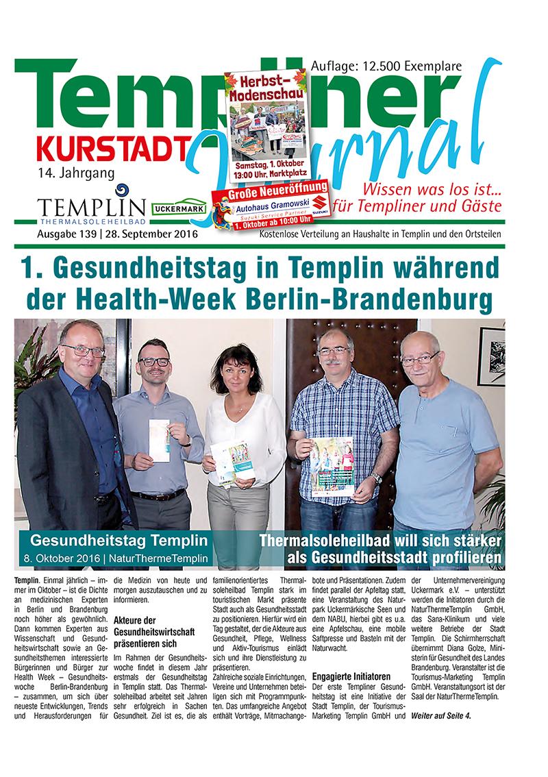 Templiner Kurstadt Journal 139 vom 28.09.2016