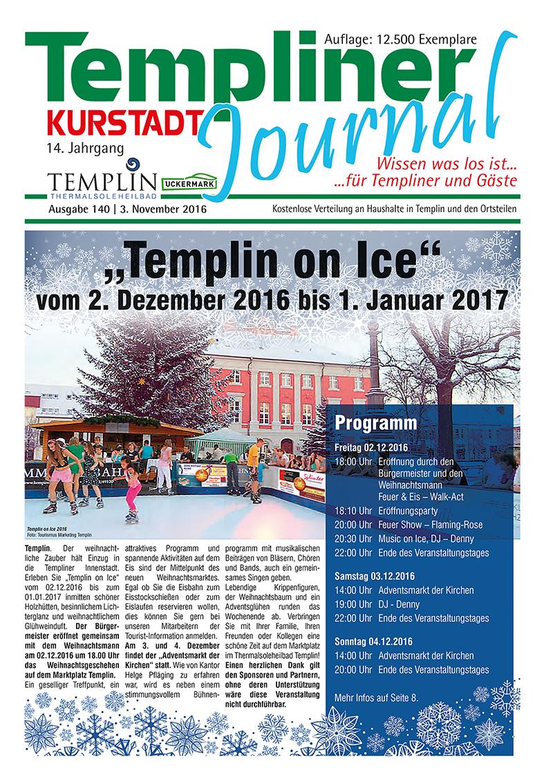 Templiner Kurstadt Journal 140 vom 03.11.2016