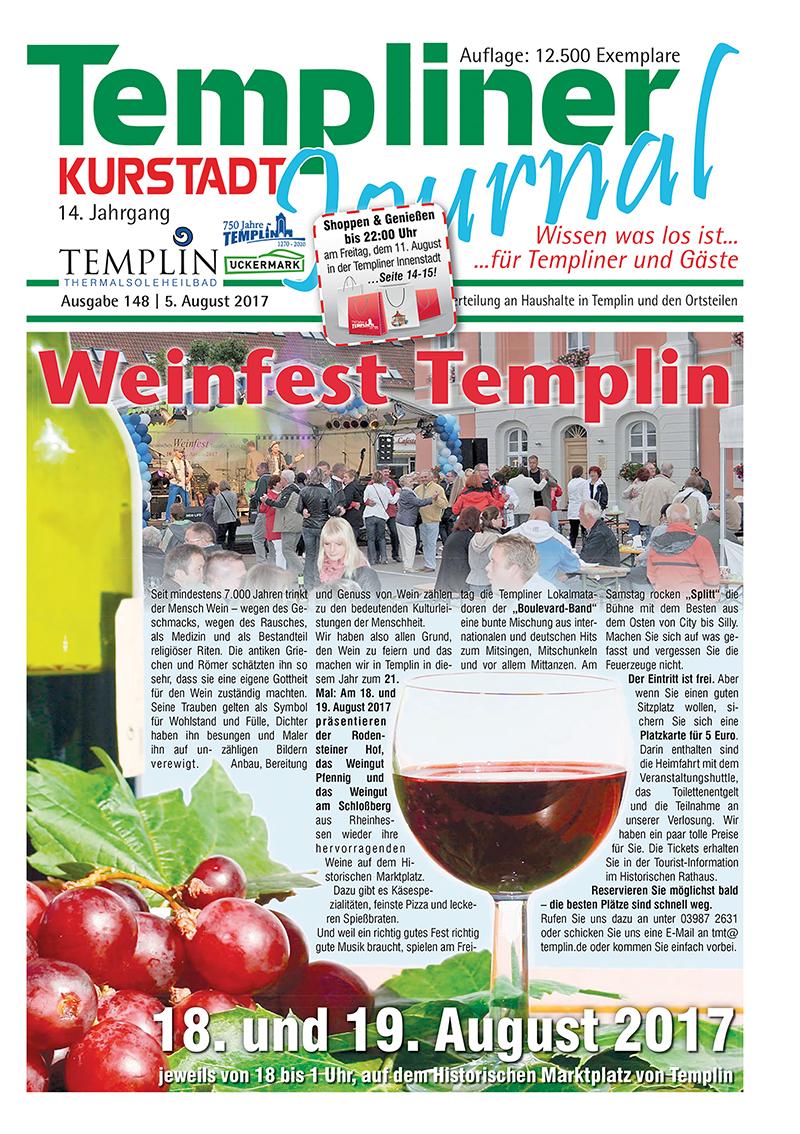 Templiner Kurstadt Journal 148 vom 05.08.2017