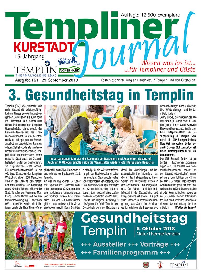 Templiner Kurstadt Journal 161 vom 29.09.2018