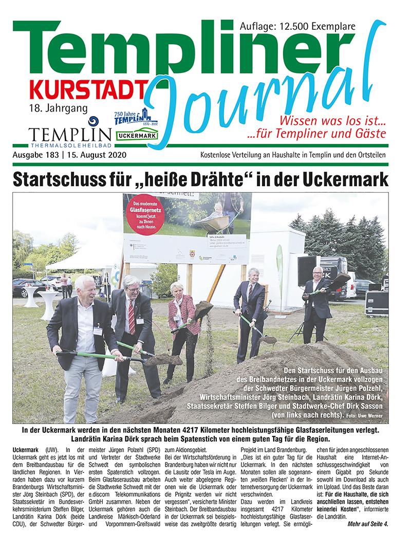 Templiner Kurstadt Journal 183 vom 15.08.2020