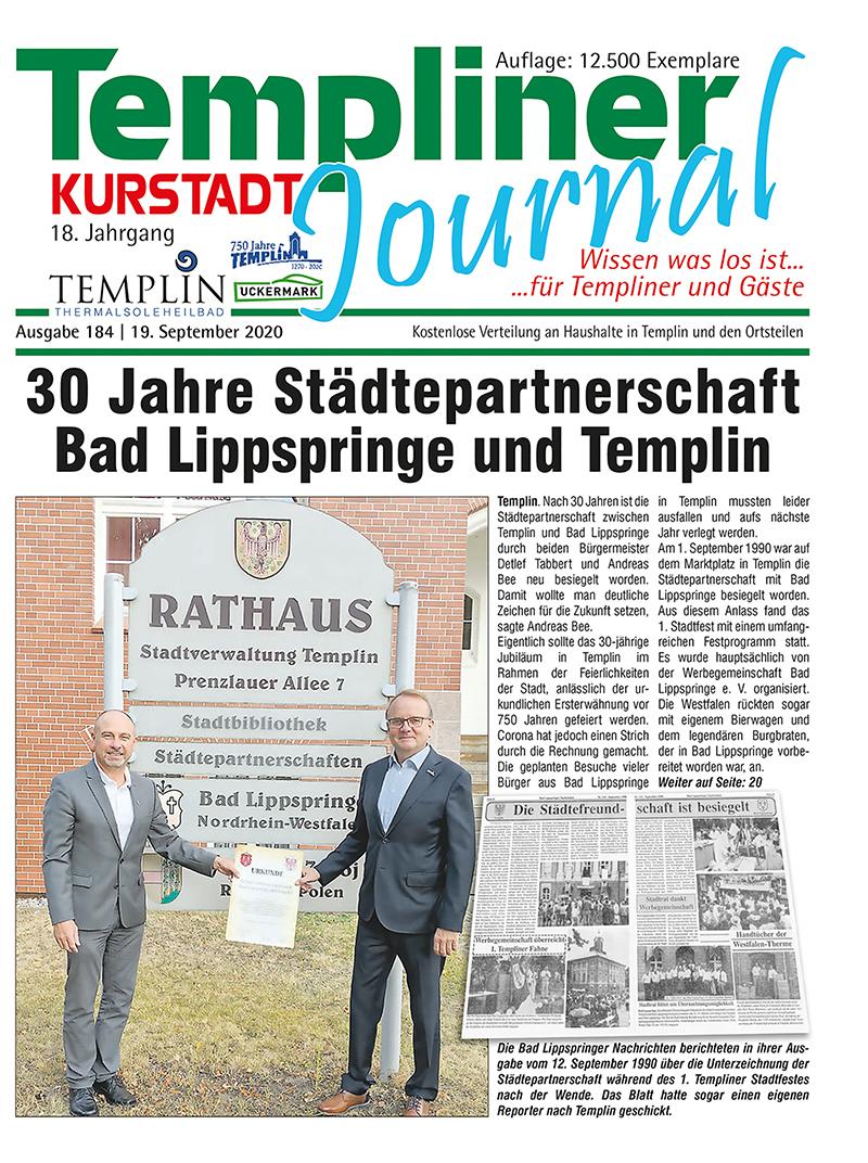 Templiner Kurstadt Journal 184 vom 19.09.2020