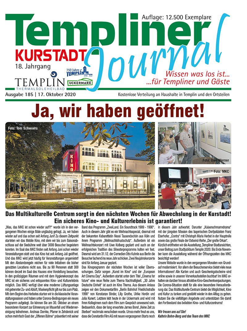 Templiner Kurstadt Journal 185 vom 17.10.2020