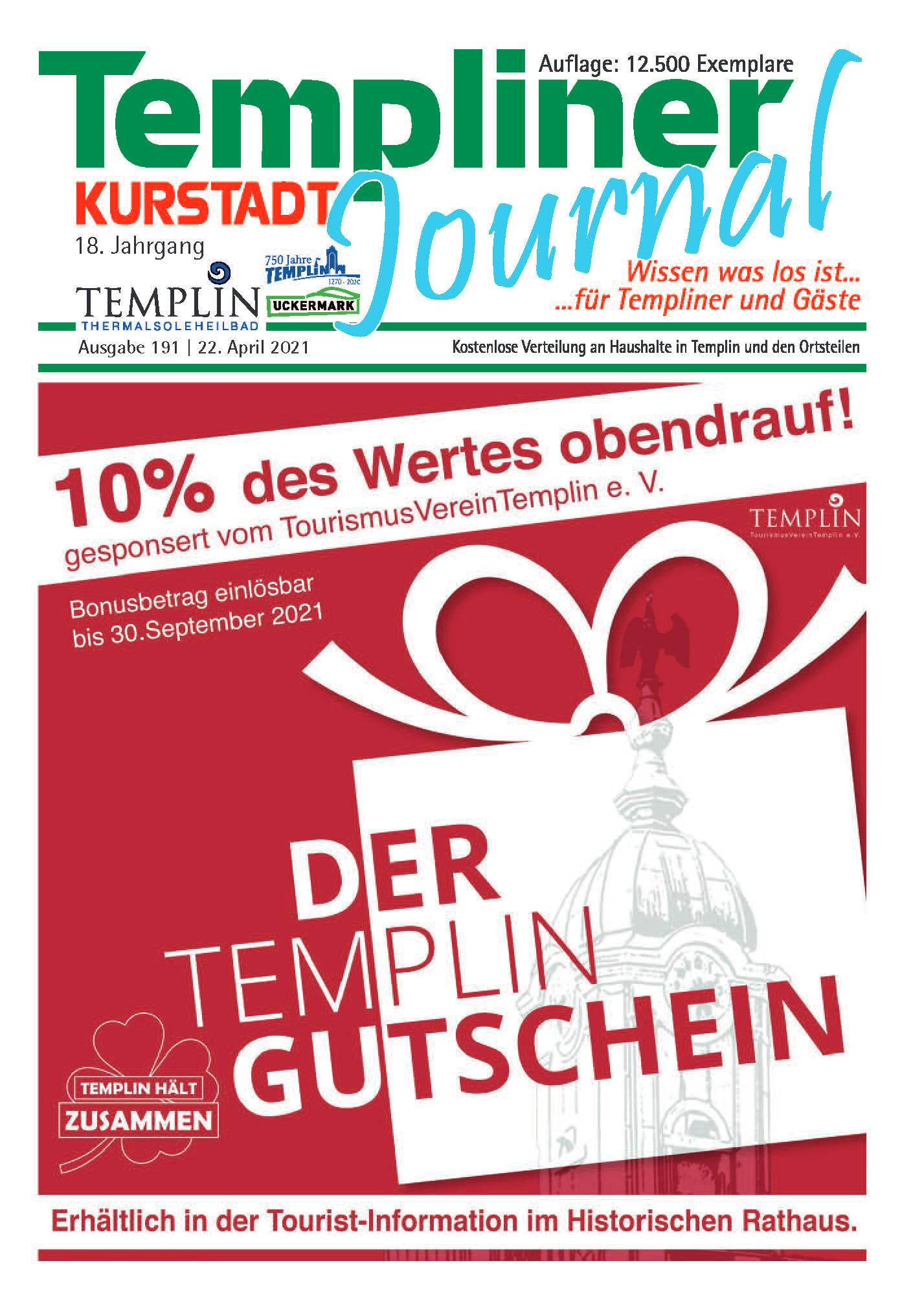 Templiner Kurstadt Journal 191 vom 22.04.2021